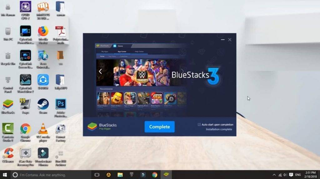 complete installation bluestacks